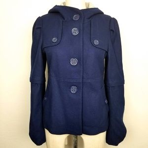 Elevenses | Navy Blue Wool Blend Pea Coat